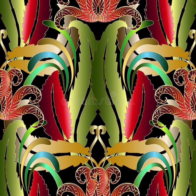 Sömlös modell för exotisk tropisk blom- vektor Färgrik abstrac stock illustrationer