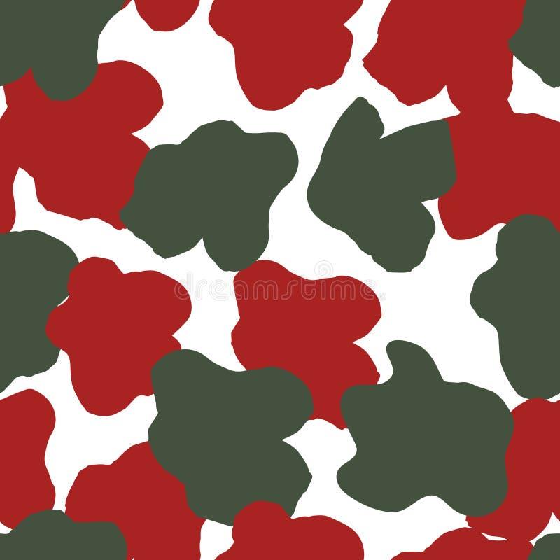 Sömlös modell för färgblomma i militär design vektor illustrationer
