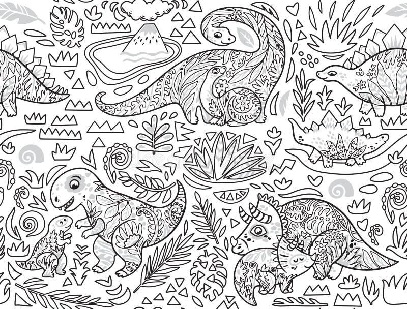 Sömlös modell för färgpulver med mamman och att behandla som ett barn dinosaurier och tropiska växter ocks? vektor f?r coreldrawi arkivbild