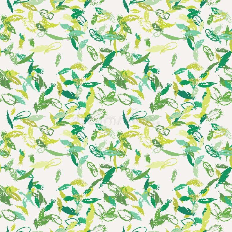 Sömlös modell för färgpulverfjäder Hand dragen klottervektorbakgrund royaltyfri illustrationer