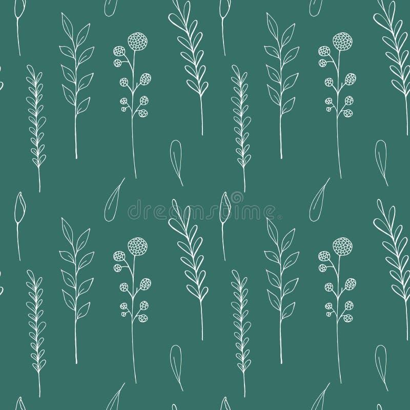 Sömlös modell för färgpulvervildblommor Utdragen vallmo för hand, kardborre, vete, gräs, lös ros, kamomill, blåklint, pelargon royaltyfri illustrationer
