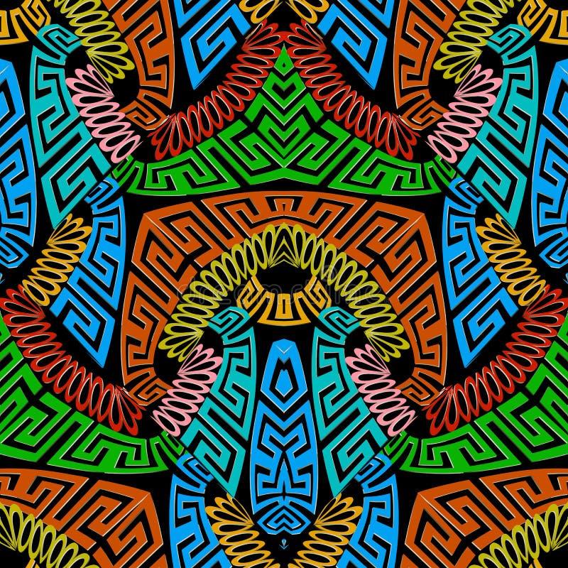 Sömlös modell för färgrik abstrakt grekisk vektor Flerfärgad geometrisk dekorativ bakgrund Ljus mönstrad repetitionbakgrund royaltyfri illustrationer