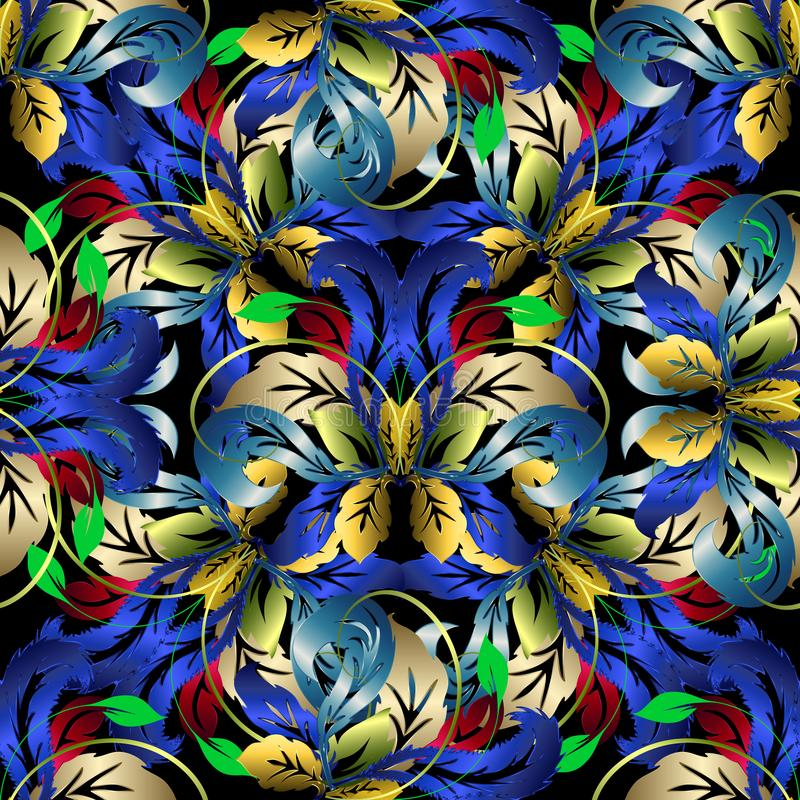 Sömlös modell för färgrik blom- vektor 3d all bakgrundsbarock curves vektorn för illustrationen separat vektor illustrationer