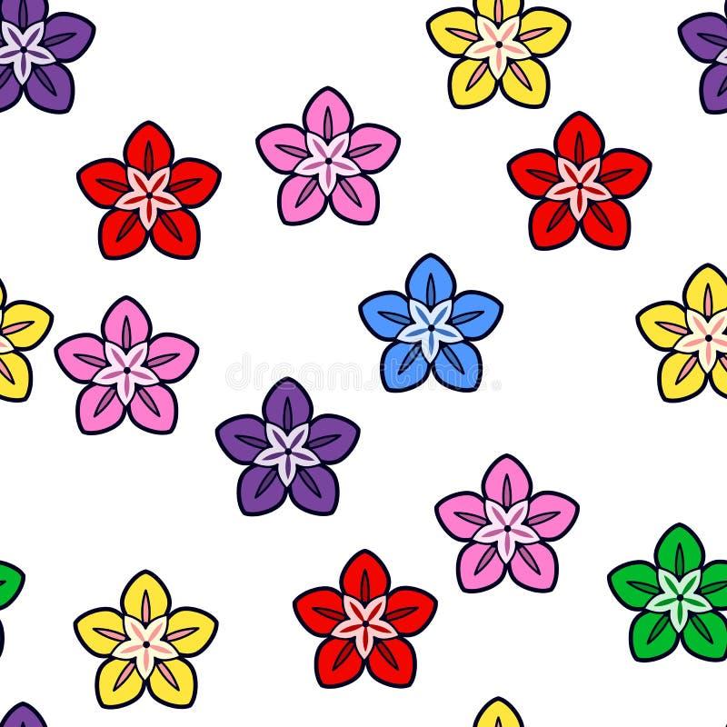 Sömlös modell för färgrik blomma på vit bakgrund Pappers- tryckdesign Abstrakt retro vektorillustration Moderiktig textil, royaltyfri illustrationer