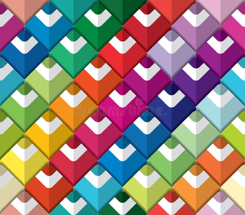 Sömlös modell för färgrik blyertspennapalett Papper klippt ut konstdesign stock illustrationer