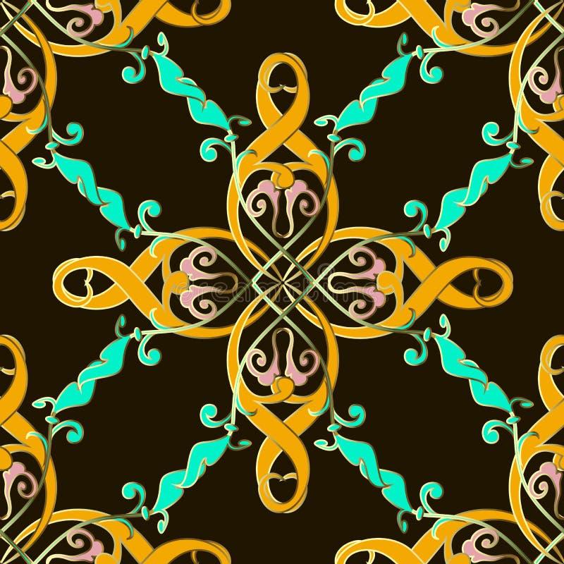 Sömlös modell för färgrik etnisk stil Vintag dekorativ bakgrund Utdragen barock prydnad för vektorhand Abstrakta blommor, sidor stock illustrationer