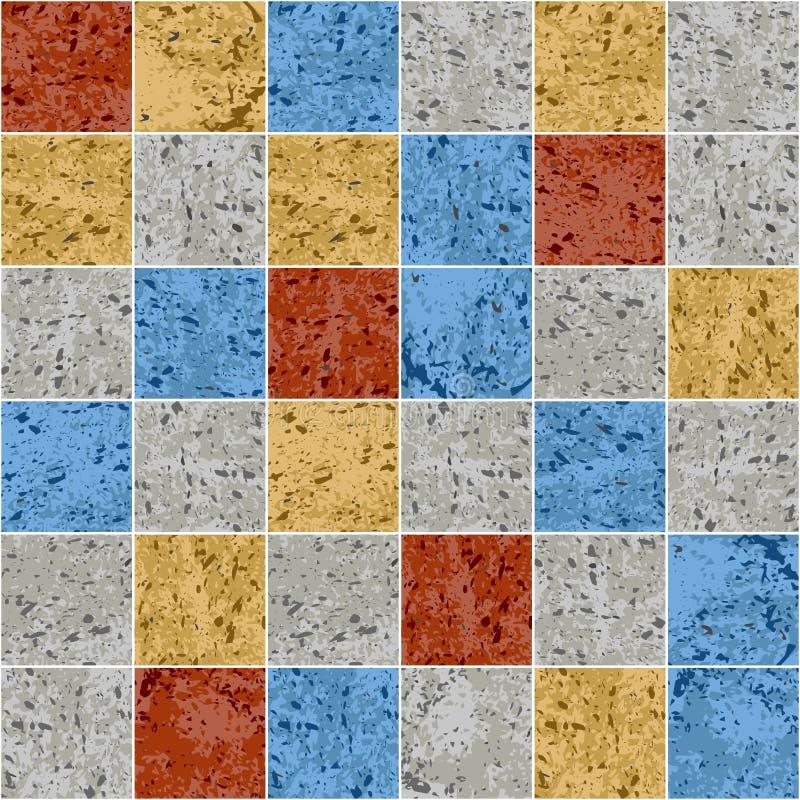 Sömlös modell för färgrik för granitmosaikfyrkant för tegelplatta textur för grunge, vektor stock illustrationer