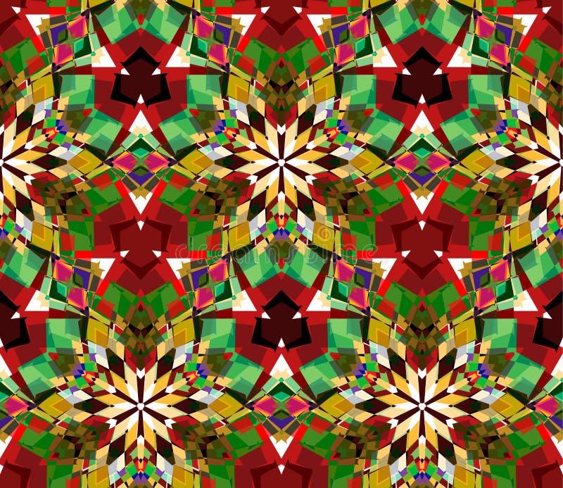 Sömlös modell för färgrik kalejdoskop Sömlös modell som komponeras av färgabstrakt begreppbeståndsdelar som lokaliseras på vit ba stock illustrationer