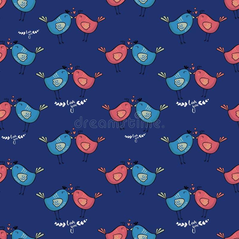 Sömlös modell för färgrik klotterfågel Samling av plan hand drog fåglar gulligt royaltyfri illustrationer