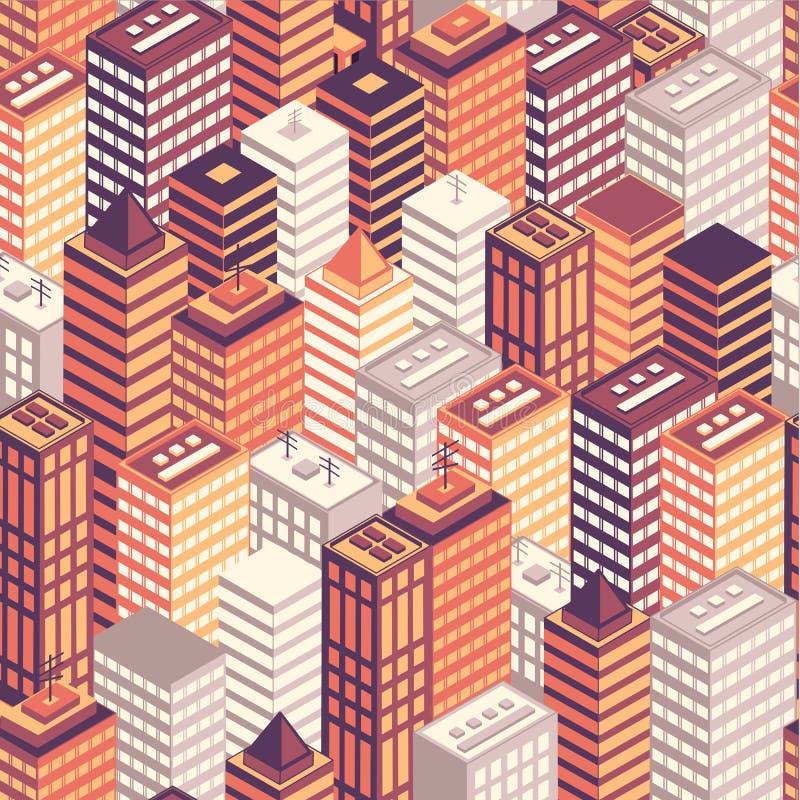Sömlös modell för färgrik plan isometrisk stad royaltyfri illustrationer