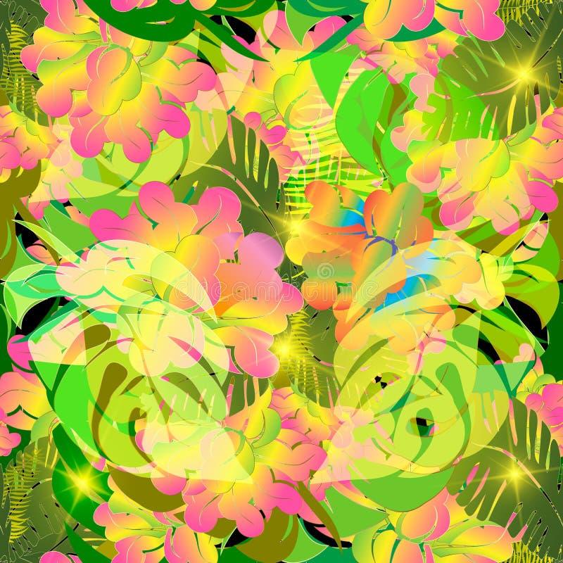 Sömlös modell för färgrik tropisk blommavektor Dekorativ fl vektor illustrationer