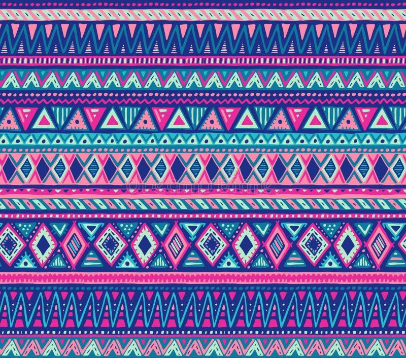 Sömlös modell för färgrik vektor med hand drog etniska beståndsdelar stock illustrationer
