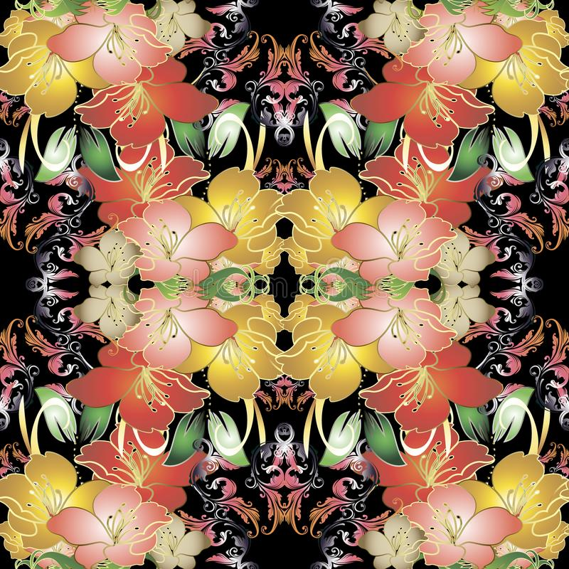 Sömlös modell för färgrik vektor för tappning blom- royaltyfri illustrationer