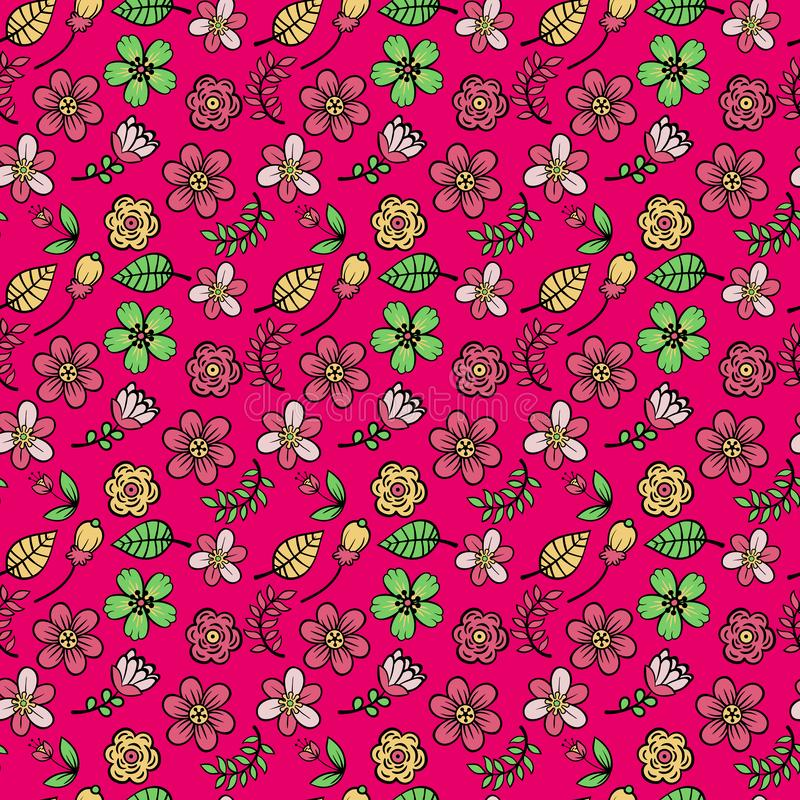 Sömlös modell för färgrika blommor på mörk rosa bakgrundsvektor stock illustrationer