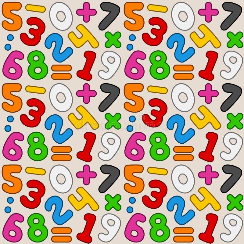Sömlös modell för färgrika nummer stock illustrationer