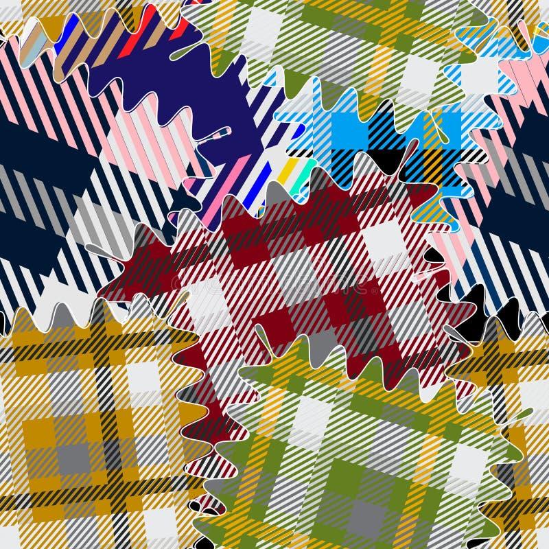 Sömlös modell för färgrika pläd Vektor texturerad tartanpatchworkbakgrund Randiga material Geometrisk abstrakt repetition vektor illustrationer