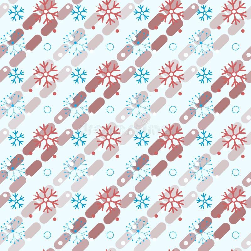 Sömlös modell för färgrika snöflingor Ändlös bakgrund för vinter royaltyfri illustrationer