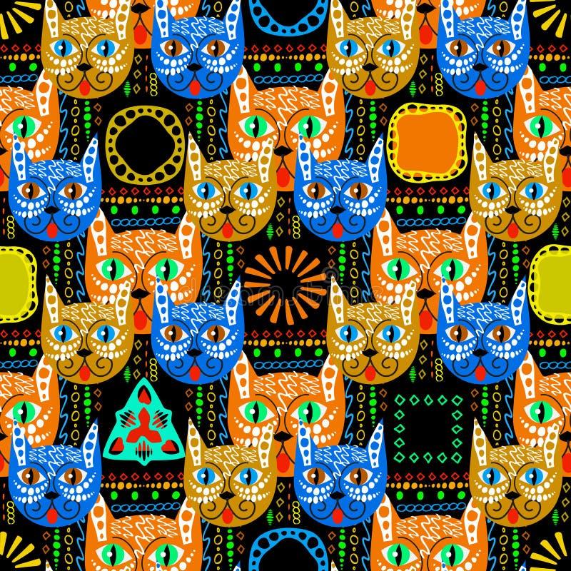 Sömlös modell för färgrika stam- etniska stilvektorkatter Geome royaltyfri illustrationer