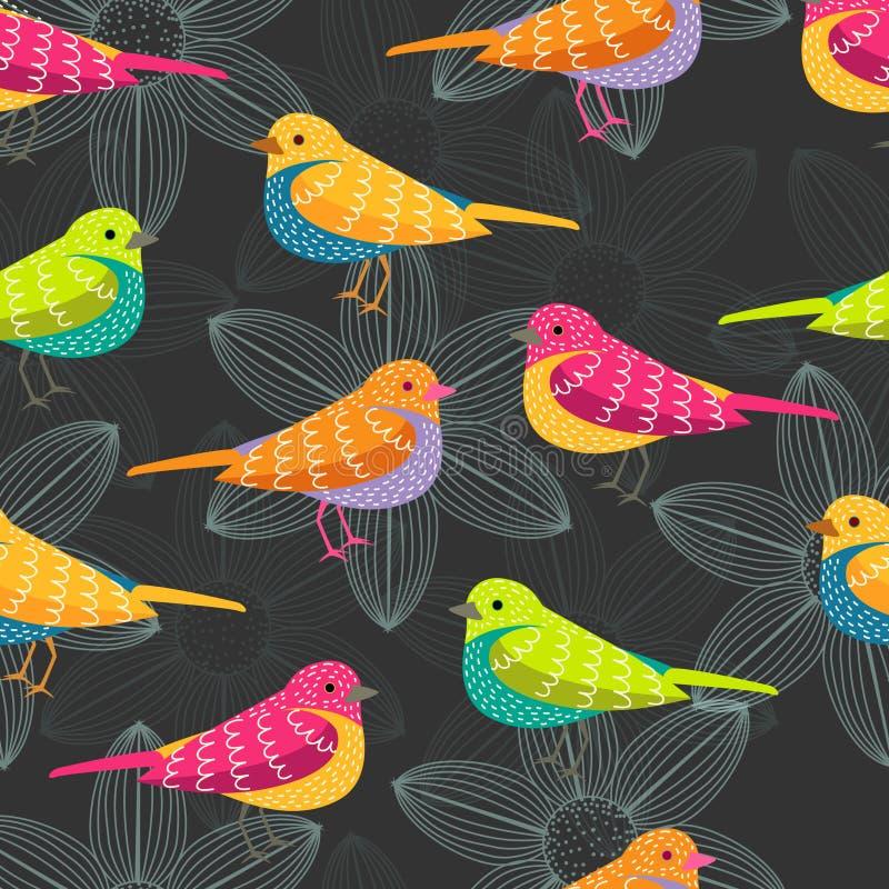 Sömlös modell för fågel på svart bakgrund royaltyfria bilder