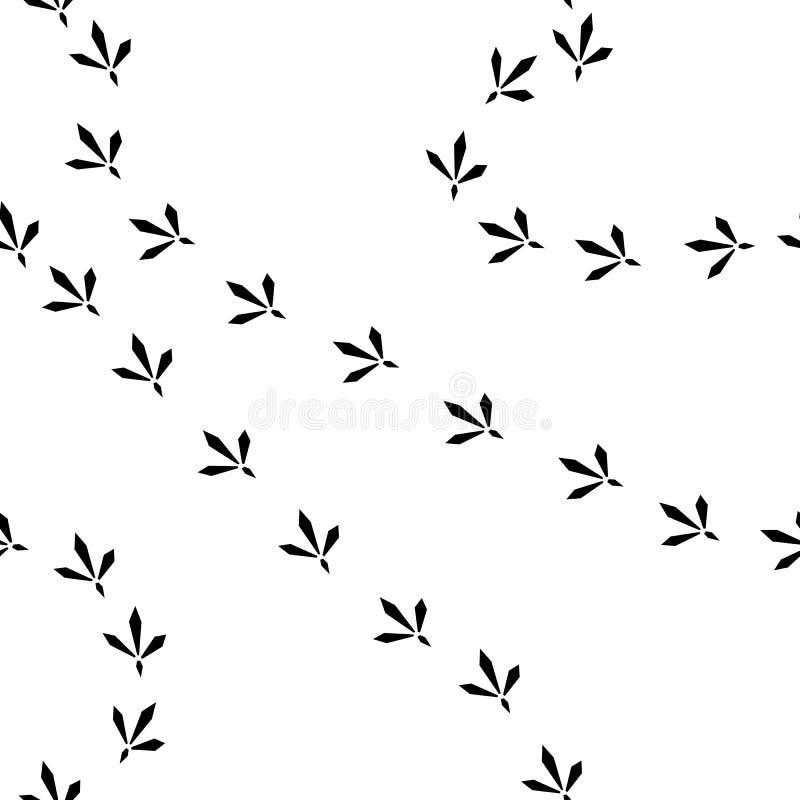 Sömlös modell för fågelfotspår royaltyfri illustrationer