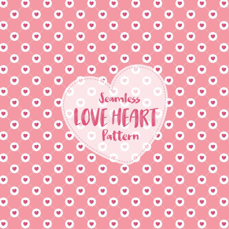 Sömlös modell för förälskelsehjärta på romantisk pastellfärgad färg också vektor för coreldrawillustration royaltyfri illustrationer
