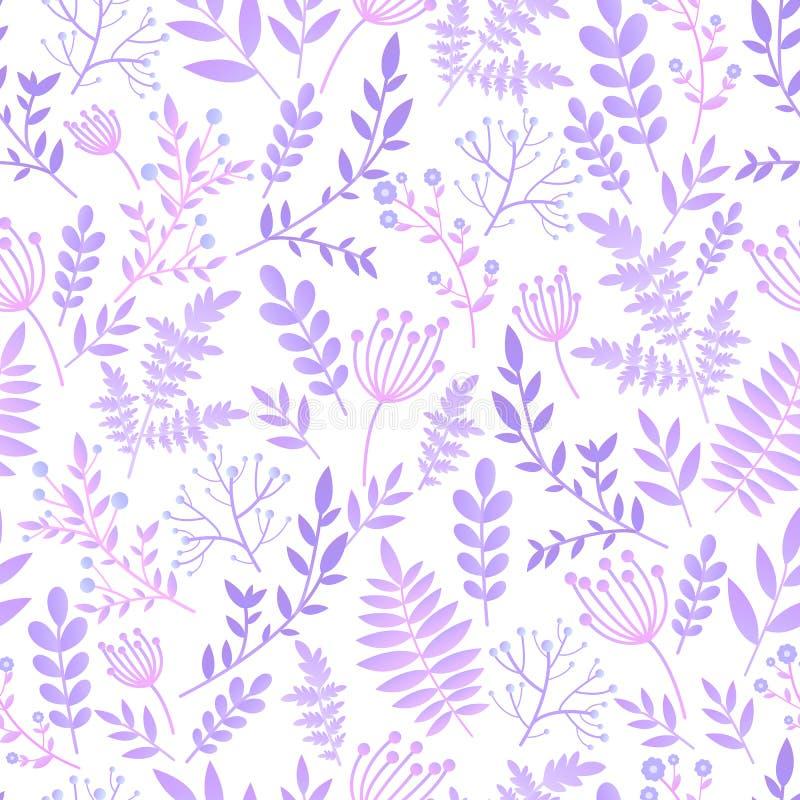 Sömlös modell för försiktig fantasiromantiker, lättrogen blomma med sidor, lösa blommor, vår, sommartid, natur i blom pastell royaltyfri illustrationer