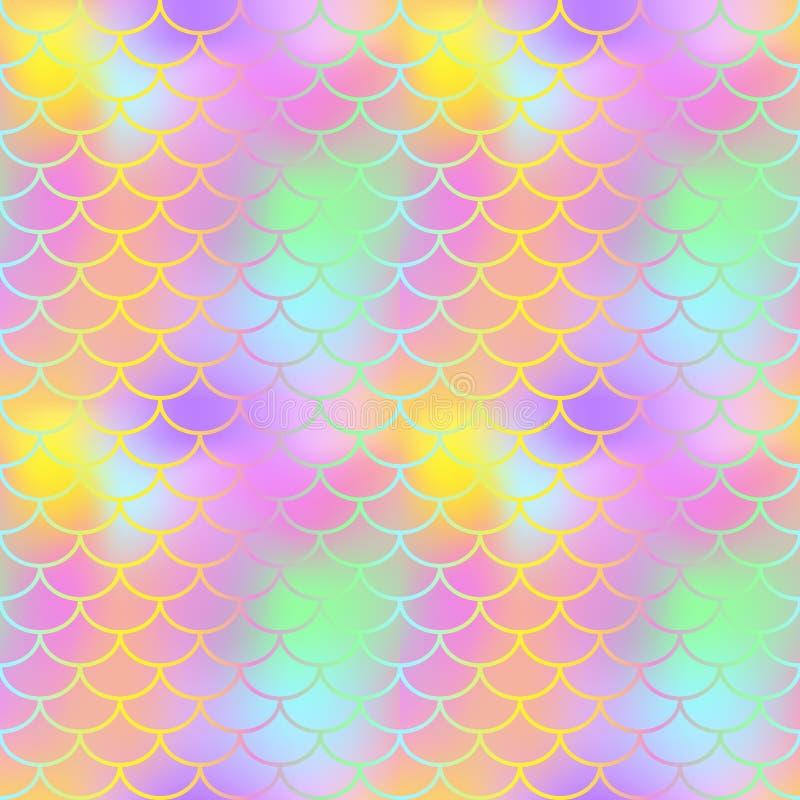 Sömlös modell för fantastisk fiskhud Guld- bakgrund för textur för provkarta för rosa färggräsplanfishscale royaltyfri illustrationer