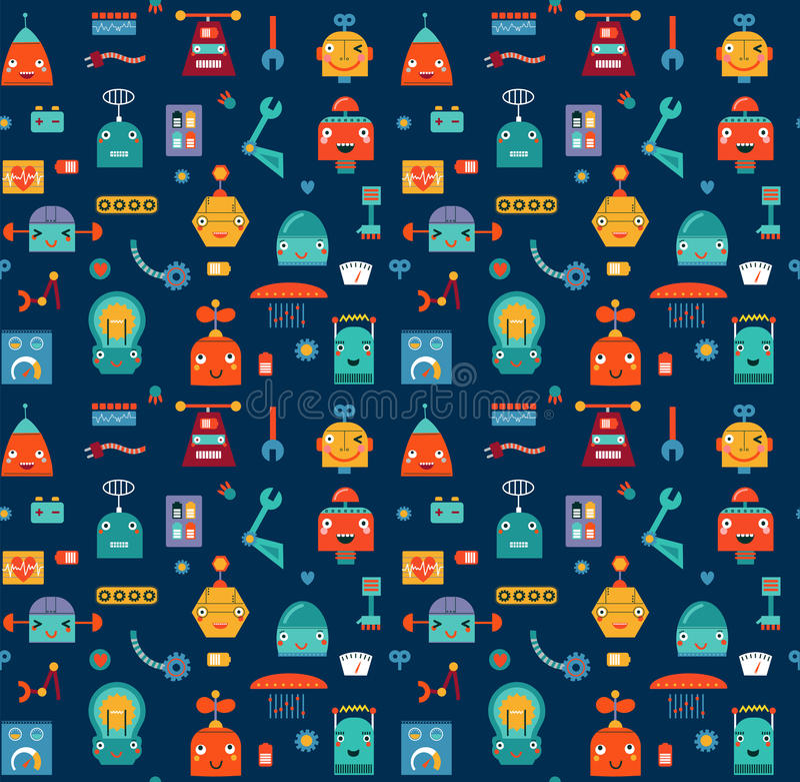 Sömlös modell för fastställda gulliga robotar royaltyfri illustrationer