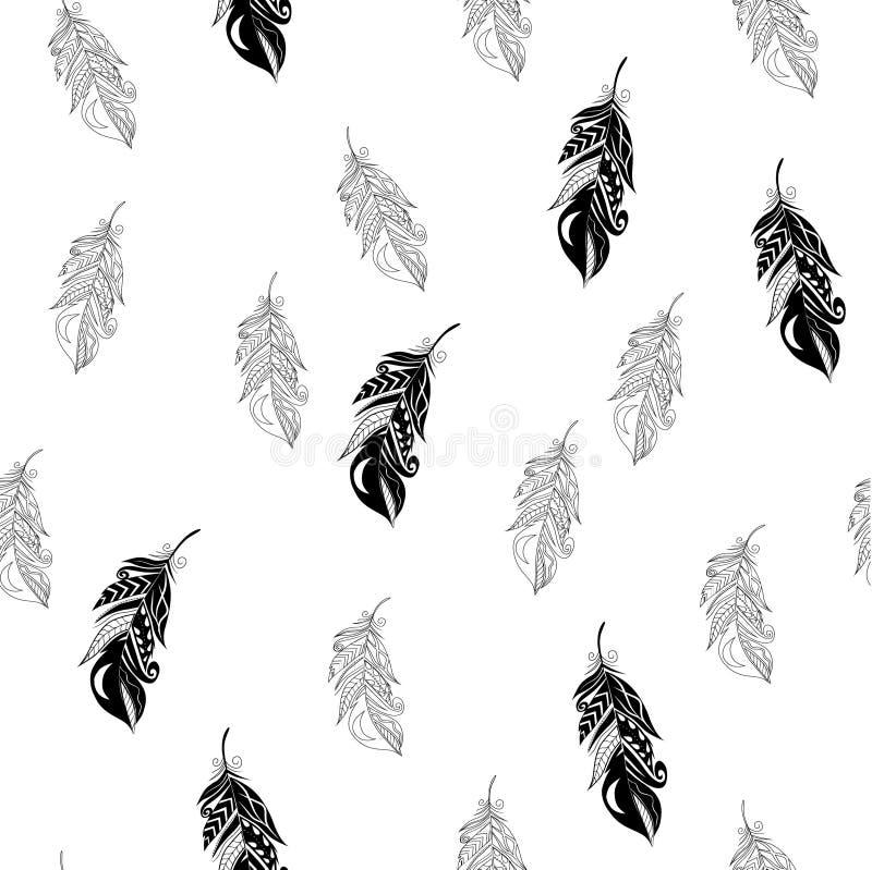 Sömlös modell för fjädrar i zentanglestil vektor illustrationer