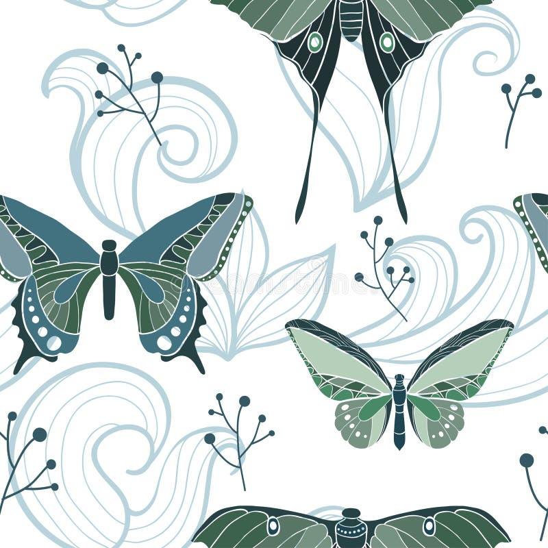 Sömlös modell för fjäril med virvlar vektor illustrationer