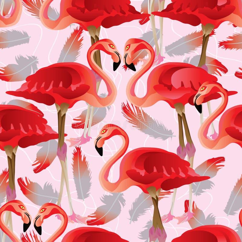 Sömlös modell för Flamigo fågelfjäder stock illustrationer
