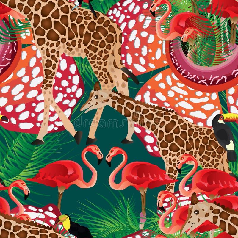 Sömlös modell för Flamigo giraff royaltyfri illustrationer