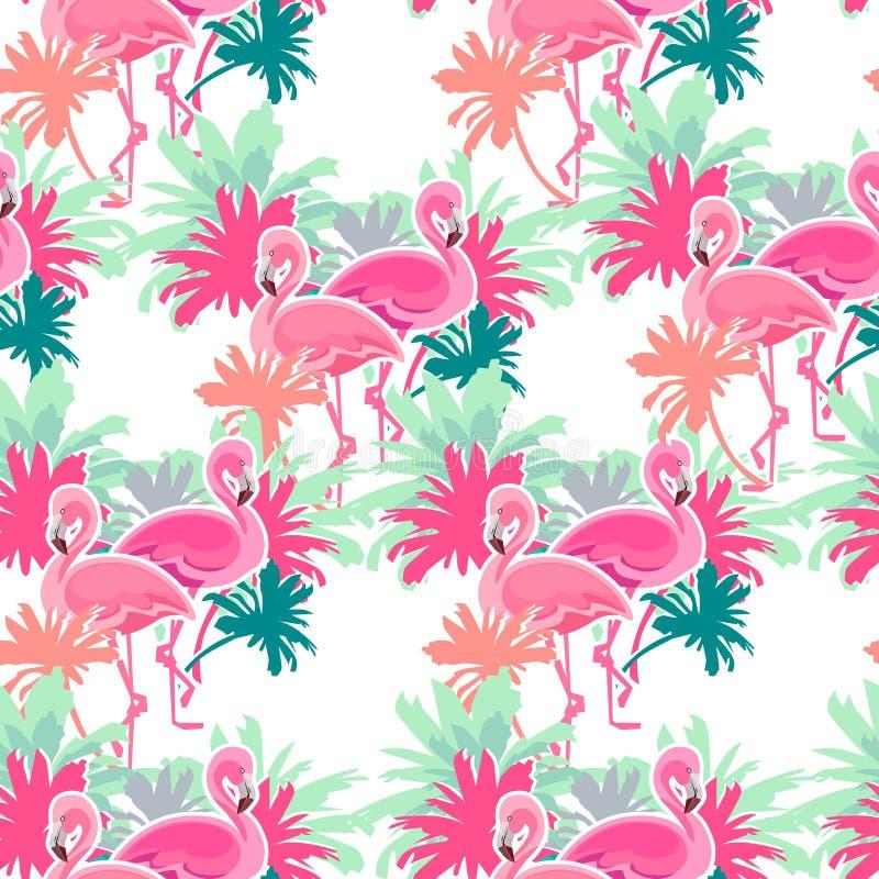 Sömlös modell för flamingo vektor illustrationer