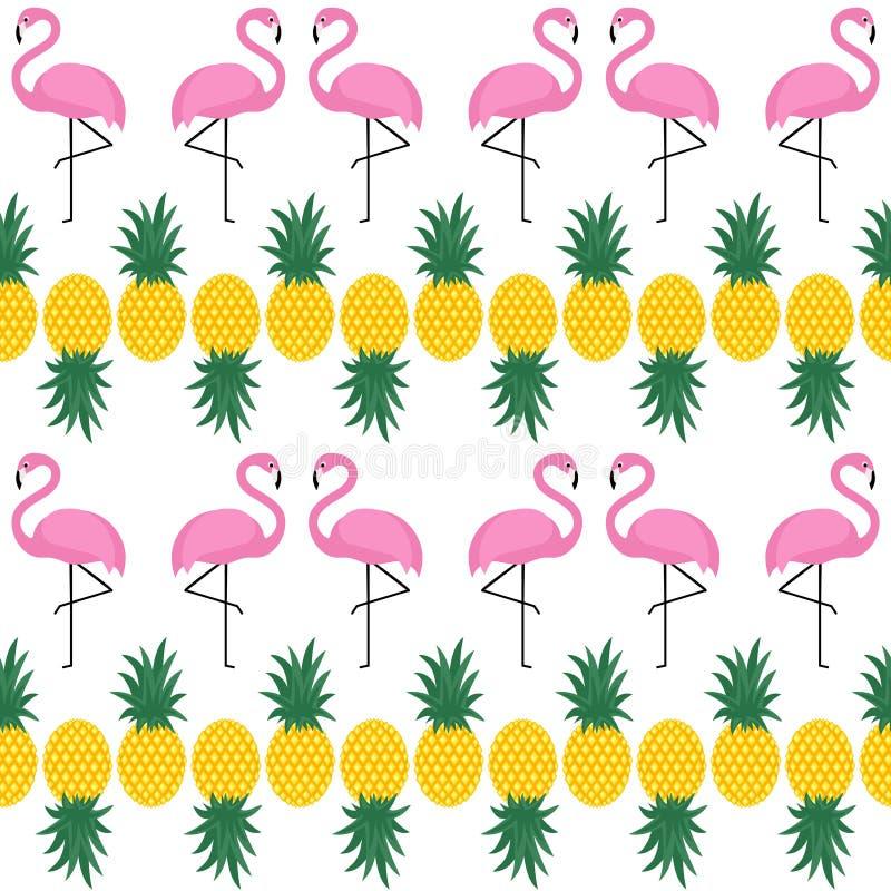 Sömlös modell för flamingo med ananors på vit bakgrund vektor illustrationer