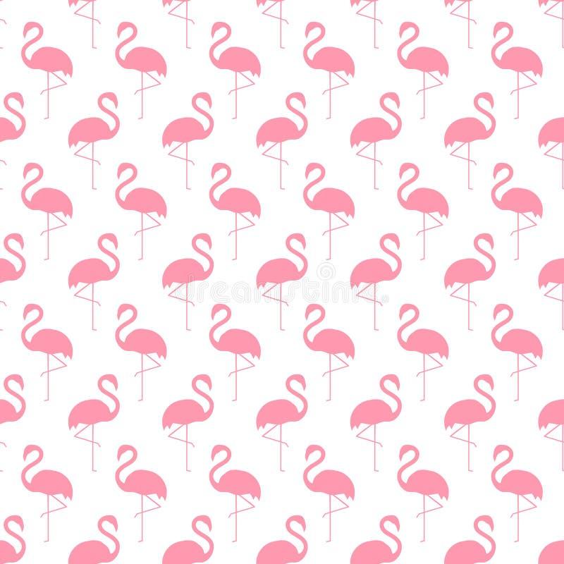 Sömlös modell för flamingo på vit bakgrund stock illustrationer