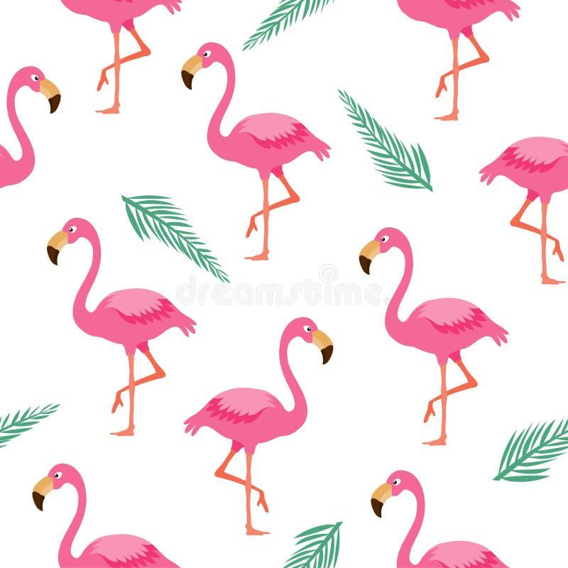 Sömlös modell för flamingo Rosa flamingobakgrund stock illustrationer