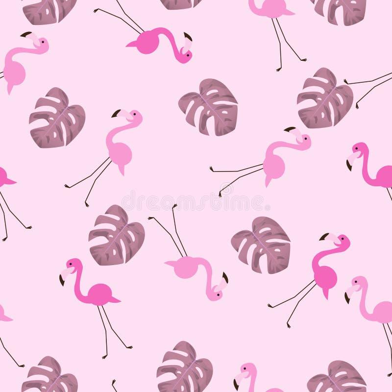 Sömlös modell för flamingofågel med det tropiska bladet stock illustrationer