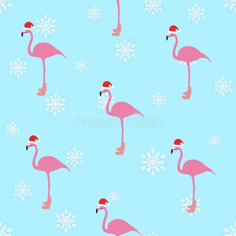 Sömlös modell för flamingovinterstil vektor illustrationer