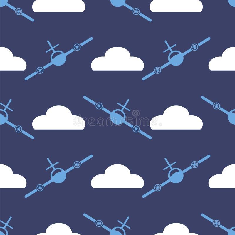 Sömlös modell för flygplankontur vektor illustrationer