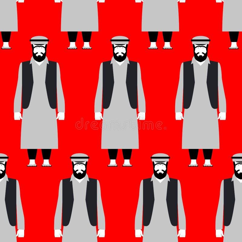 Sömlös modell för flyktingar Ledset folk på röd bakgrund Folkmassanolla royaltyfri illustrationer