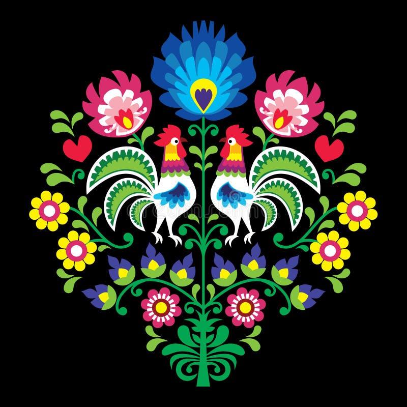 Sömlös modell för folkkonst - mexicanska band för stil planlägger länge med fåglar och blommor i rosa färger och gräsplan royaltyfri illustrationer