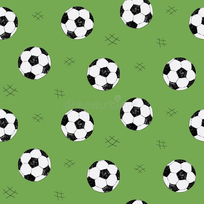 Sömlös modell för fotbollboll för bakgrund, rengöringsduk, stilbeståndsdelar Grön bakgrund Den tecknade handen skissar Sportvekto royaltyfri illustrationer