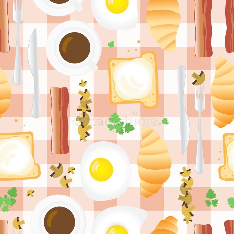 Sömlös modell för frukost i plan tecknad filmstil vektor illustrationer