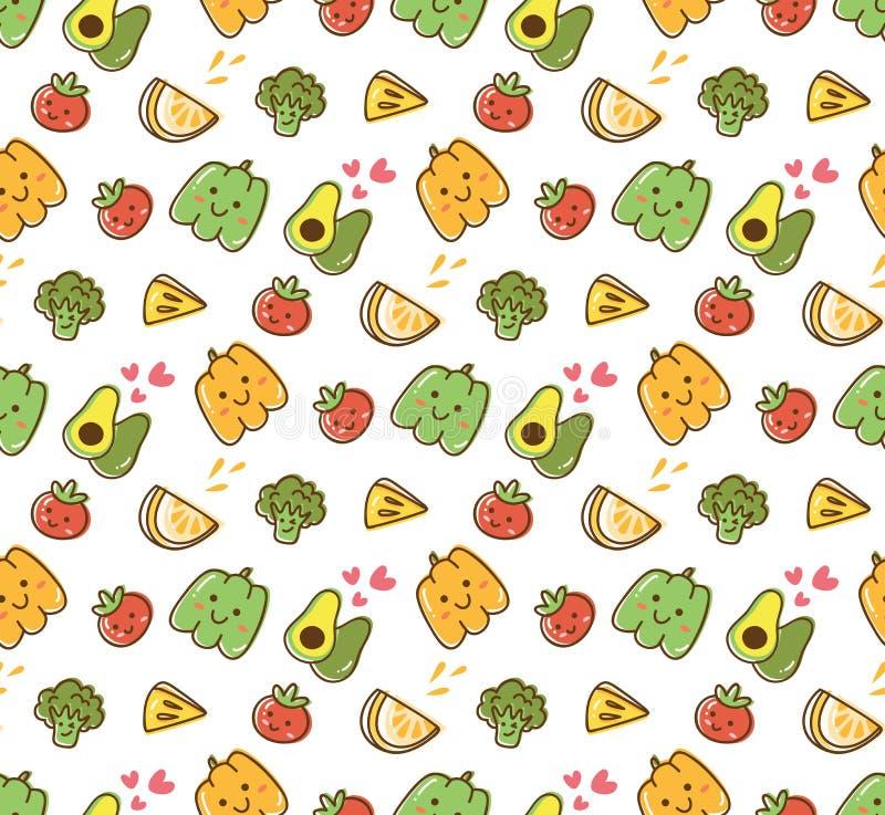 Sömlös modell för frukt- och grönsakkawaii vektor illustrationer