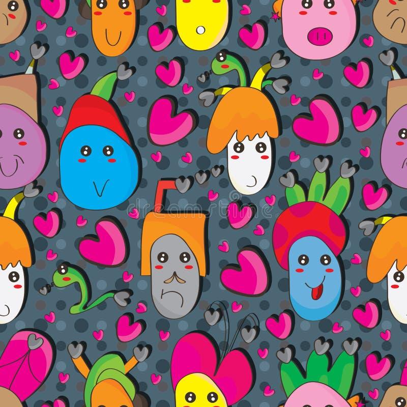Sömlös modell för galen svart hjärtafamilj stock illustrationer