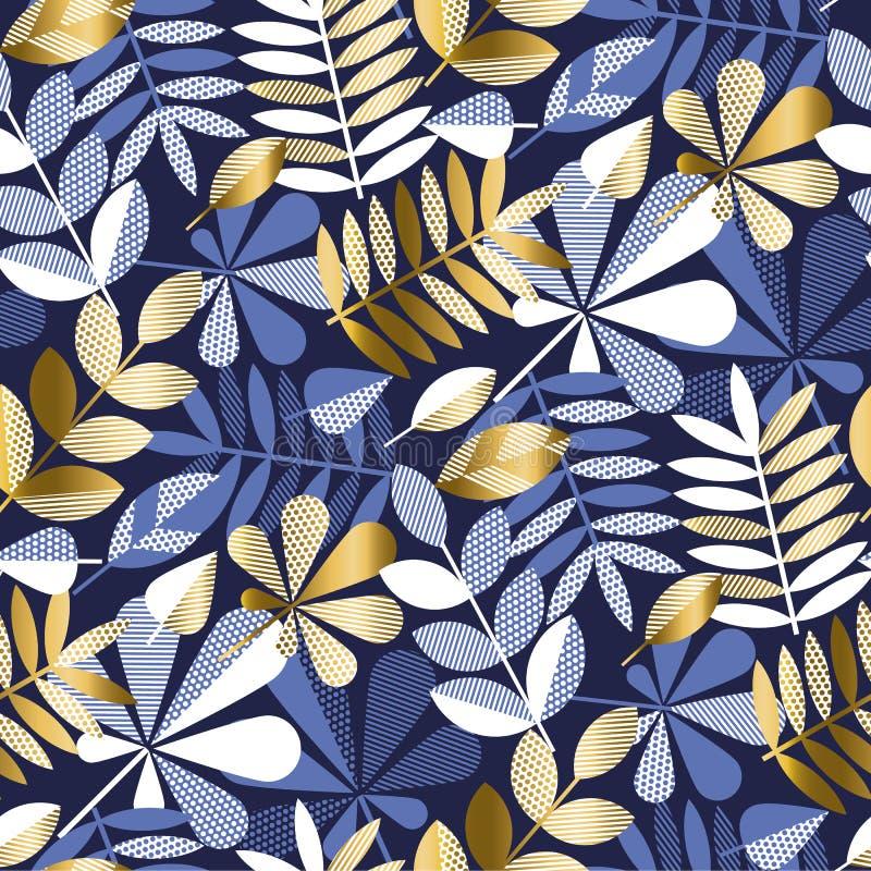 Sömlös modell för geometrisk lövverk för stil elegant stock illustrationer