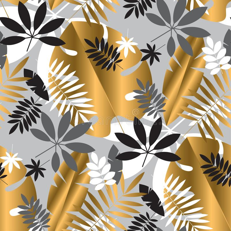 Sömlös modell för geometrisk lyxig djungellövverk royaltyfri illustrationer