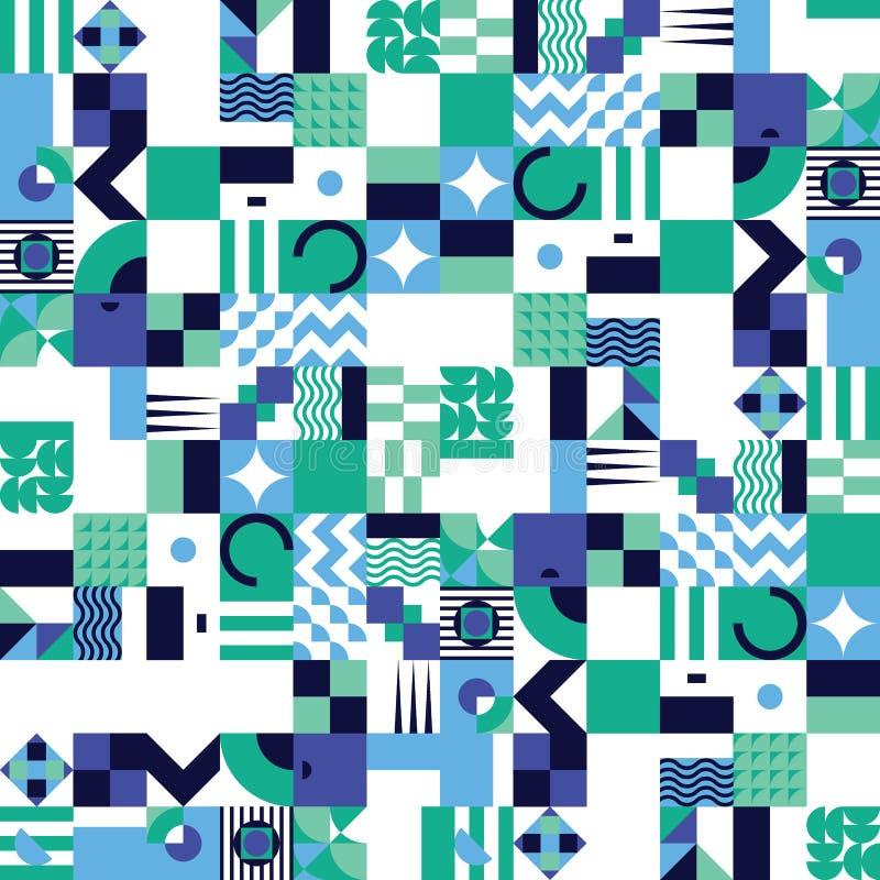 Sömlös modell för geometrisk mosaik stock illustrationer