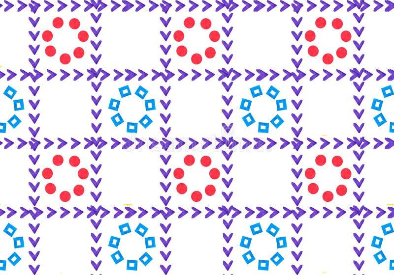 Sömlös modell för geometrisk prydnad från rastret I cellerna är blommor Kronblad är form av hjärtor och cirklar vektor illustrationer
