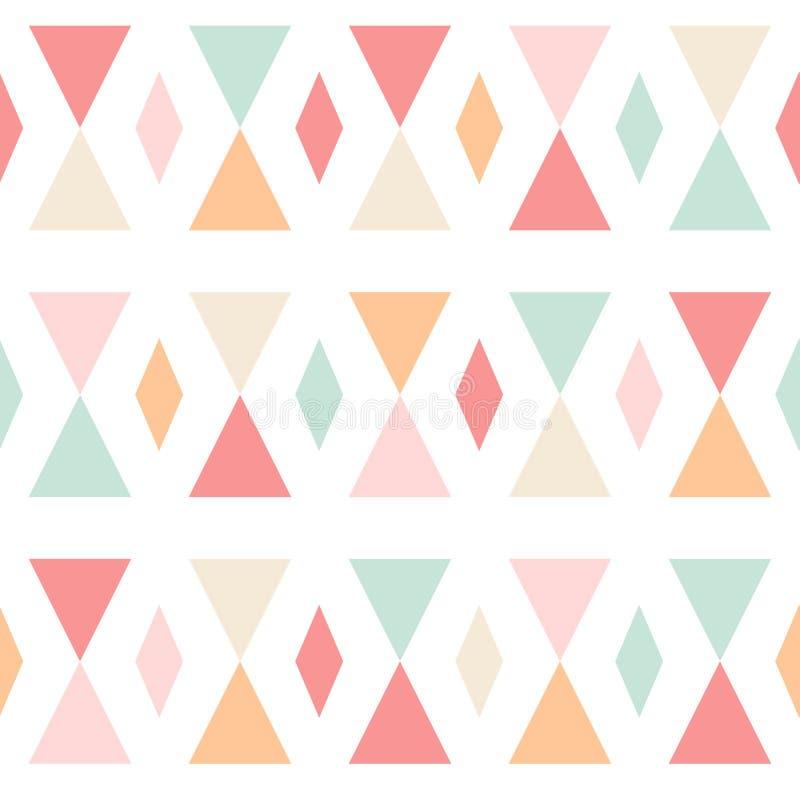 Sömlös modell för geometriska abstrakta trianglar på vit royaltyfri illustrationer
